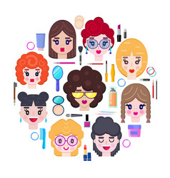 with girls faces and cosmetics vector image