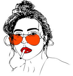 Young woman in glasses one line design vector