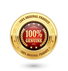 100 percent genuine product - golden insignia vector image
