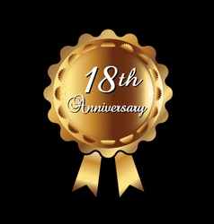 18th Anniversary gold medal vector image