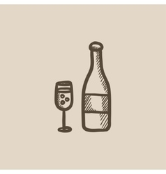 Bottle of champaign and glass sketch icon vector image vector image