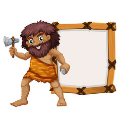 caveman and wooden frame vector image vector image