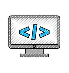 computer desktop with progamming language vector image vector image