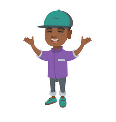 happy african boy standing with raised hands vector image vector image