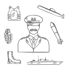 Military man with army symbols sketch icon vector image vector image