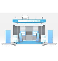 Realistic advertising exhibit booth composition vector