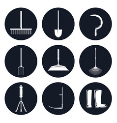 set of round icons garden equipments vector image vector image