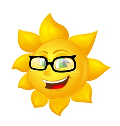 smart cartoon sun in glasses vector image
