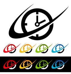Swoosh clock logo icons vector