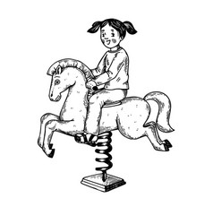 child on rocking horse engraving vector image vector image