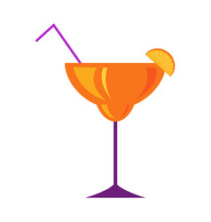 margarita glass with citrus cocktail flat vector image vector image