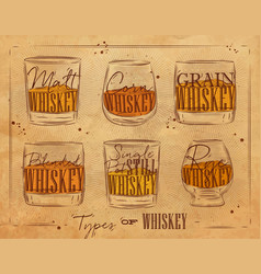 poster types whiskey craft vector image vector image