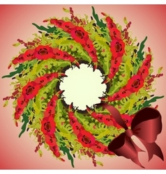 Red poppies garland wreath and ribbon with bow vector image vector image