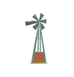 Wind water pump traditional construction for vector