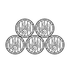 Wine barrels icon in outline style isolated on vector image