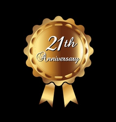 21th Anniversary gold medal vector image