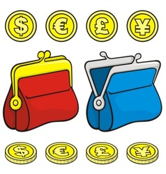 coin purse vector image vector image