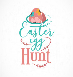 colourful easter egg hunt greeting card design vector image
