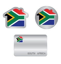 Home icon on the South Africa flag vector image