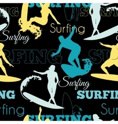 Surfing People California Blue Yellow Black vector image vector image