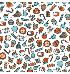 sweet desserts candies bakery cakes seamless vector image