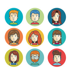 set faces character online community isolated vector image