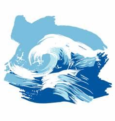 stylized brushed ocean waves splash vector image vector image