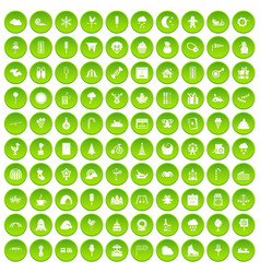 100 childrens parties icons set green circle vector