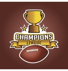 American football cup trophy and ball ribbons vector