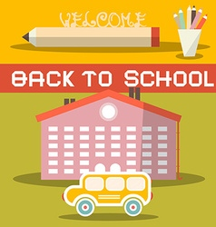 Back to School Title with Yellow Bus - School vector