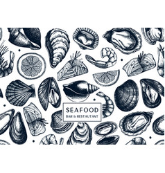 background with hand drawn shellfish - clam vector image
