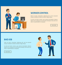 Bad job and worker control web pages boss vector