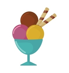 Balls of ice cream in cup cartoon food vector image