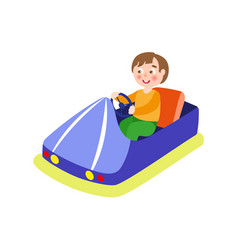 boy driving bumper car from amusement park vector image