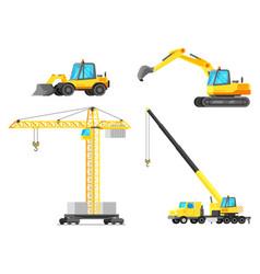 building machines icon set construction equipment vector image