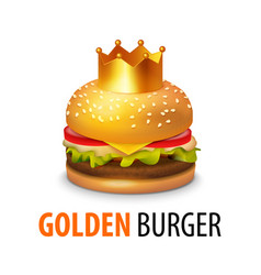 Burger with crown isolated on white background vector