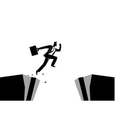 Businessman jumps over the ravine vector