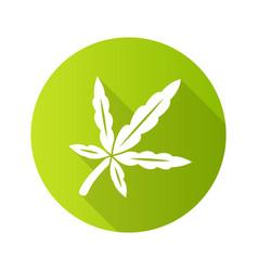 Cannabis leaf flat design long shadow glyph icon vector