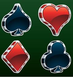card suit web icon set vector image