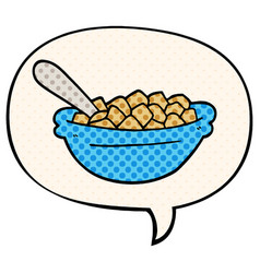 Cartoon cereal bowl and speech bubble in comic vector