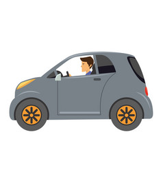 cartoon of young man with car vector image