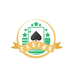 Casino or poker club logo vintage gambling badge vector