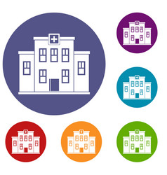 city hospital building icons set vector image