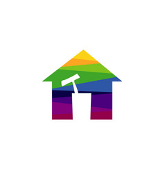 cleaning service colorful house tools symbol logo vector image