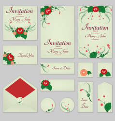 collection greeting cards with stylized red roses vector image