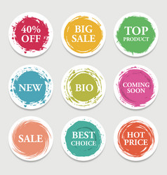 Colorful paper circle sticker label vector