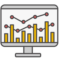computer monitor with graph and chart icon vector image