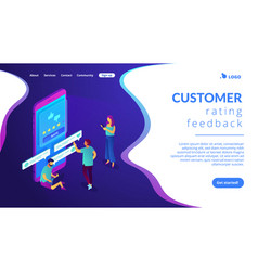 Customer feedback isometric 3d landing page vector