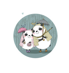 cute cartoon bears pandas autumn theme hand vector image