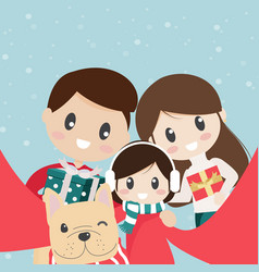 cute family and french bulldog puppy taking vector image
